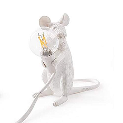 Lámpara de mesa de noche, lámpara de escritorio pequeña, lámpara de escritorio para ratón, ratón de resina, luces de lectura con forma de animal, luz de pared moderna para interiores, dormitorio