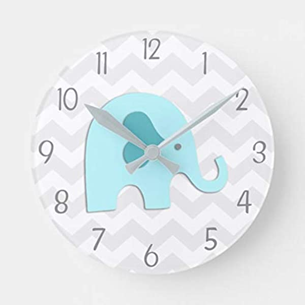 Enidgunter Teal Aqua Grey Elephant Nursery Nursery Wall Clock For Kids Large Wooden Wall Art Decoration Christmas Clock Gifts 12 Inches