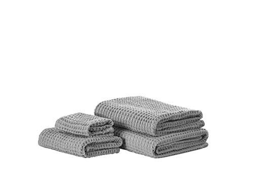 Beliani Conjunto de 4 Toallas de algodón Grises AREORA