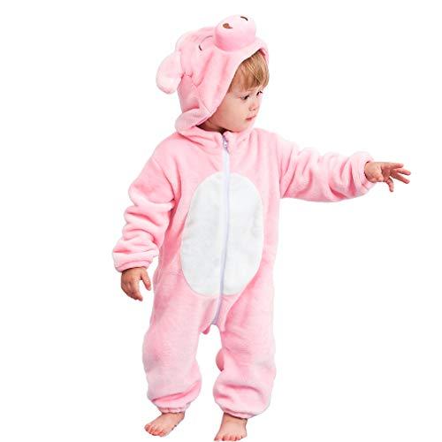 MICHLEY Bebé Ropa Niños Niñas Pijama Disfraces Primavera Franela Traje Animales Pelele fenzhu-90cm