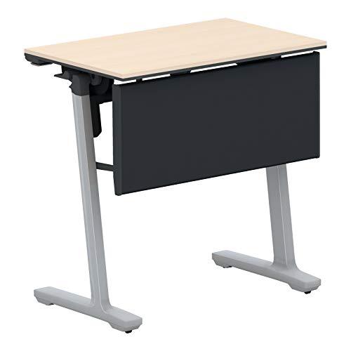 コクヨ 会議テーブル カーム KT-PJ147P81M10NN 研修施設用 天板フラップ式 樹脂パネル付きタイプ 電源コンセントなし棚なし フラットシルバー脚/天板ホワイトナチュラル