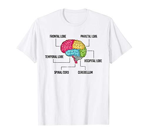 Partes del cerebro Psicología Regalo Psicólogo Ropa Camiseta