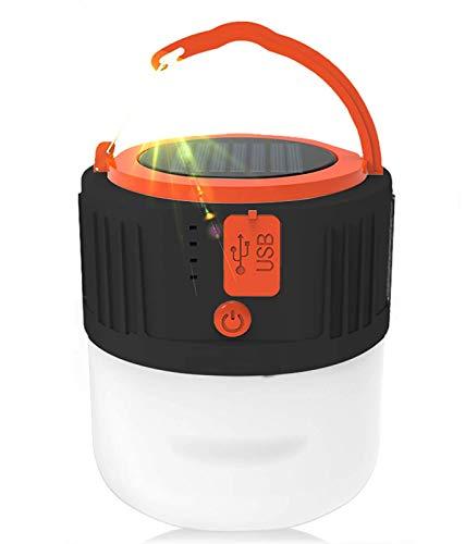 Lámpara LED solar de camping – Linterna recargable por USB, portátil, linterna de jardín, luz de emergencia, Power Bank 6 modos, luz de búsqueda impermeable para pesca nocturna, caza (negro)