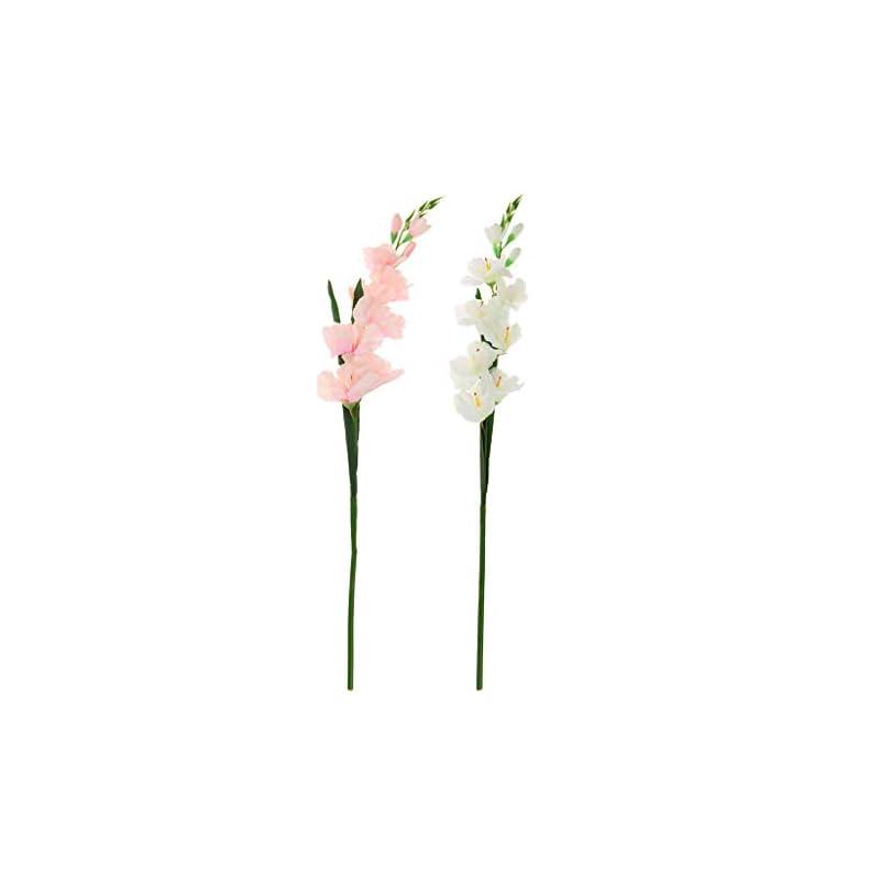 silk flower arrangements f fityle 2pcs artificial simulation gladiolus flower stem wedding home decor - b