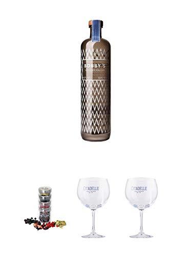 Bobbys Schiedam Dry Deutschland 0,7 Liter + Gin Flight Gewürze zum Verfeinern von Gin Tonic 1er Pack 1 x 12 Gramm + Citadelle Ballon GIN Glas 1 Stück + Citadelle Ballon GIN Glas 1 Stück