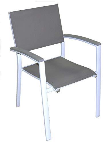 Gruppo Maruccia Quattro sedie per Bar e Giardini in Alluminio impilabili con braccioli sedie per Esterni sedie Giardino impilabili