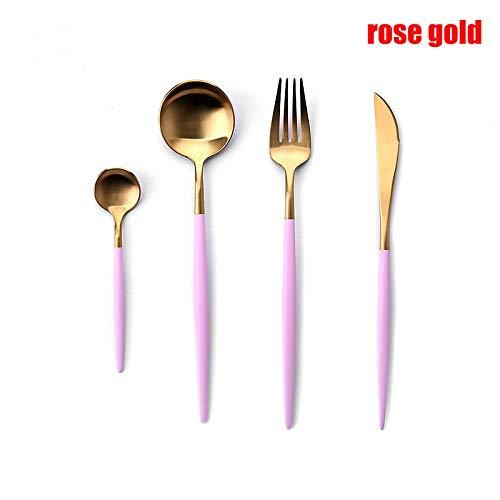 BesteckEssgeschirr Set Essstäbchen Gold Essgeschirr Gabeln Messer Löffel Edelstahl Western Geschirr Set Koreanische Essstäbchen-Rose_Gold