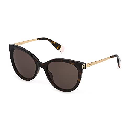 FURLA Gafas de sol SFU508 0722 53 – 19 – 140 para mujer, color marrón oscuro brillante
