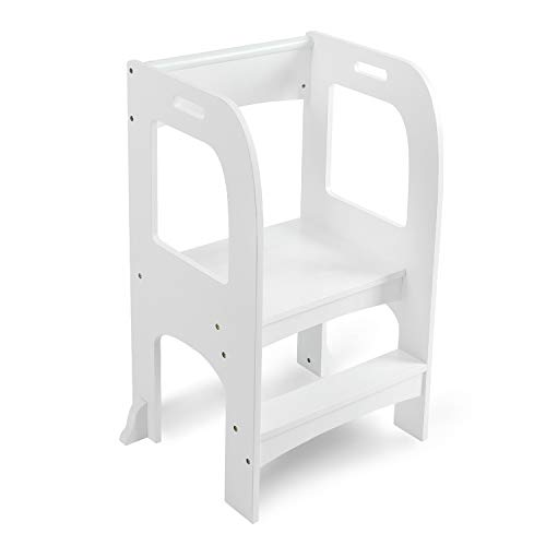 CLOFY Kids Step Stool, Wooden Toddler Two-Step Kitchen Stool with Non-Slip Design, Child Safety Standing Stool Learning Furniture with Safety Rails for Counter & Bathroom Sink & Bedroom - White