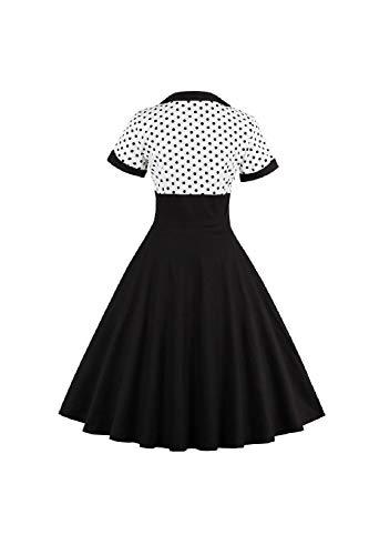 Yacun Women Vintage Dress Polka Dot Cocktail Swing Dress Rockabilly 1940s 50s Black XL