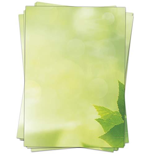 50 Blatt Briefpapier (A4) | Sommer grün | Motivpapier | edles Design Papier | beidseitig bedruckt | Bastelpapier | 90 g/m²