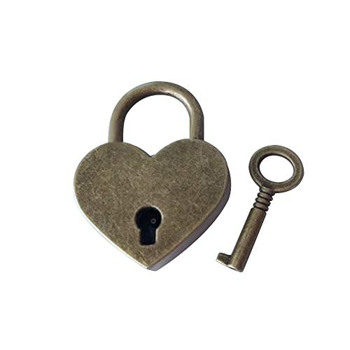 盛世汇众 Amantes de Bloqueo de Caja de la Caja Mini Forma de corazón Caja de Equipaje Gimnasio Locker Candado con tecla de Bloqueo de mejoras for el hogar Hardware (Color : Bronze)