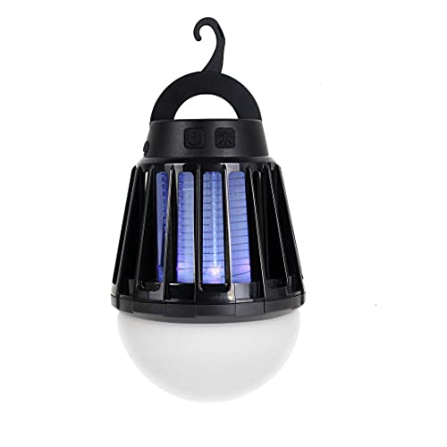 VABOO Lámpara Antimosquitos Eléctrico, 2 en 1 LED Portátil Linterna de Camping USB Recargable Mata Mosquitos Electrico UV Lámpara Trampa con 3 Modos de Brillo para Jardin, Exterior, Interior