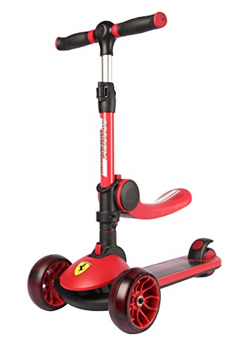 Ferrari Scooter Pliable avec siège Réglage de la Hauteur Roues LED Brillantes Scooter pour Enfants de 3 à 10 Ans Rouge Max 50 kg