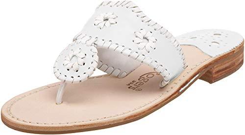 Jack Rogers Women's Palm Beach Navajo Classic Sandal,White,8 M