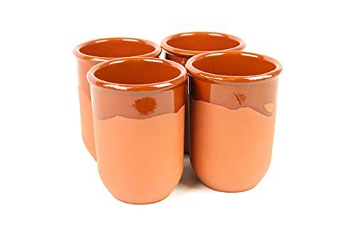 ARTESANIAROCA Vasos de Barro, Conjunto de 4 Vasos de Barro 450ml. Medio Esmalte. Producto Nacional, Artesanal. Medidas 9cm diámetro x 12cm Altura