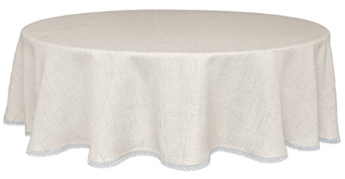 Lenox French Perle Solid 70' Round Tablecloth, Natural Linen