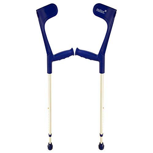 Krücken Paar Klassiker 140 Kg Unterarmgehstützen von Ossenberg mit Ergo Softgriff Gehhilfen Pulox-Design (Blau)