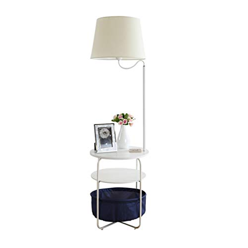 Lámpara de pie LED Nordic Creative Puerto de Carga USB con Bandeja de Almacenamiento Luz de Piso Pantalla de Tela Lámparas de pie Luz Blanca (Color : Round Table)