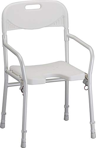 NOVA Medical Products Foldable Bath and Shower Chair with Arms and Back, U Shaped Front Design for Hygienic Cleaning, Seat Height Adjustable, Travel Folding Bath Seat Chair, White, Standard