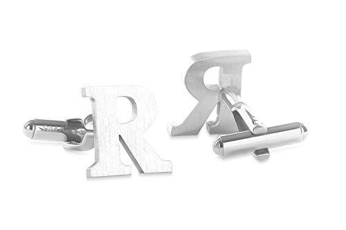 SMARTEON® Manschettenknöpfe für Herren | Premium Buchstaben A-Z | Silber & Schwarz aus hochwertigem Edelstahl in mattem Design | Elegante Cufflinks in einem edlen Geschenk-Set (R - silber)