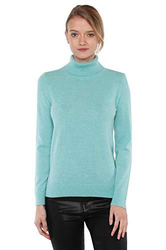 JENNIE LIU Women's 100% Pure Cashmere Long Sleeve Pullover Turtleneck Sweater(S, Aqua)