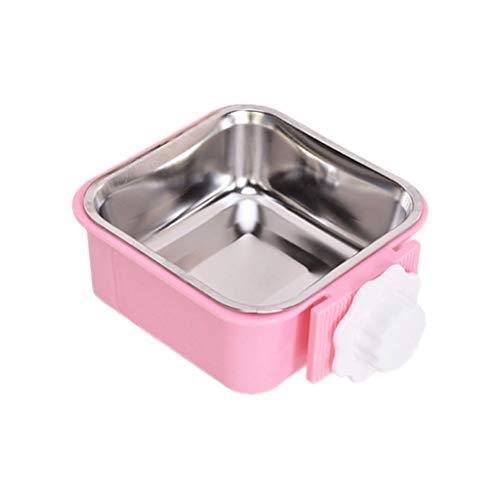 POPETPOP ペットボウル ハンガー ゲージ用 ペット食器 餌入れ ヘルスウォーターボウル 猫 犬 うさぎ 小動物用 食器 固定 方形