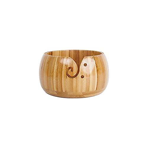 Tazón de bambú para tejer de madera, cuenco redondo de almacenamiento de punto, suave para hacer...
