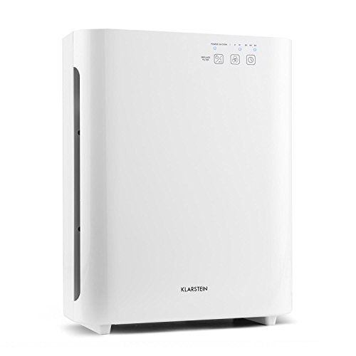 KLARSTEIN Vita Pure 2G - Purificador de aire 5 en 1, Ionizador, Filtro HEPA 5 capas, 99,97% de rendimiento de filtración, Lámpara UV-C, 50 m², 30 db, 55 W, Control táctil, Temporizador, Blanco