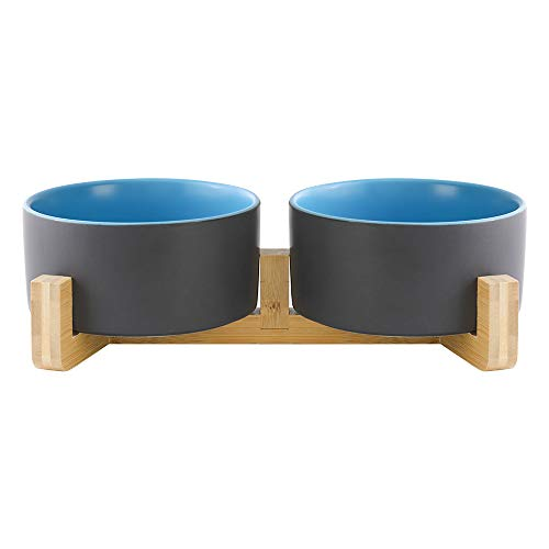 HCHLQLZ Grau Blau Keramik Hundenapf Futternapf Fressnapf Napf für Hund Katzen mit Massivholz Ständer(2 Stück)