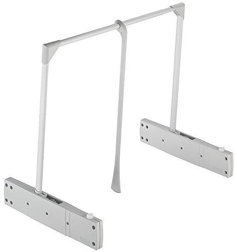 Gedotec Kleiderlift verstellbar Schrank-Lift mit Kleiderstange Modell SUPER PRO | Garderobenlift klappbar Stahl Kunststoff grau | Tragkraft bis 18 kg | 1 Set