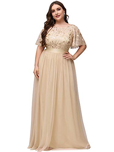 Ever-Pretty Women's A-Line Empire Waist Embroidery Plus Size Evening Prom Dress Gold US14