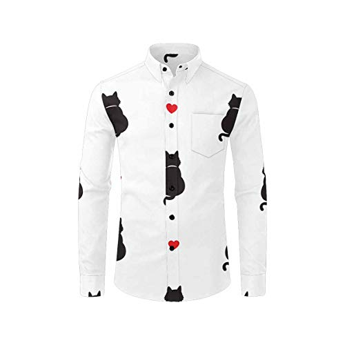 InterestPrint Men's Slim Fit Long Sleeve Casual Button Down Shirt Cat Kitten Valentine Day Heart L