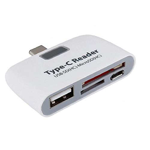 Card Reader Multi-Function Micro USB Reader SD Memory Card Adapter with Type C Charge Port White