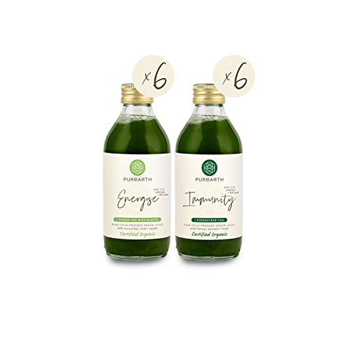 Purearth Mixed Green Juice Pack 270ml, Certified Organic, Cold-Pressed, 12, Mixed Pack