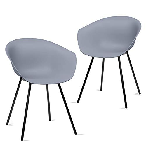 Mc Haus MERAKI - Pack 2 sillas comedor modernas para cocina y salon sillon nordico salon diseño dormitorio escritorio color gris 52x57x76cm