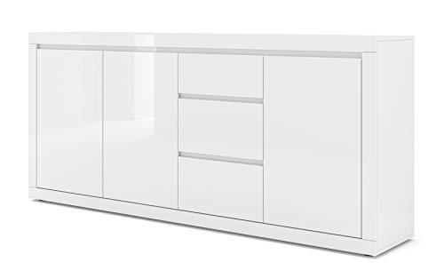BIM Furniture Kommode Bello Bianco IV 195 cm Sideboard Highboard Schrank Weiss mat/Weiss Hochglanz DREI Regal, DREI Schubladen Italienische