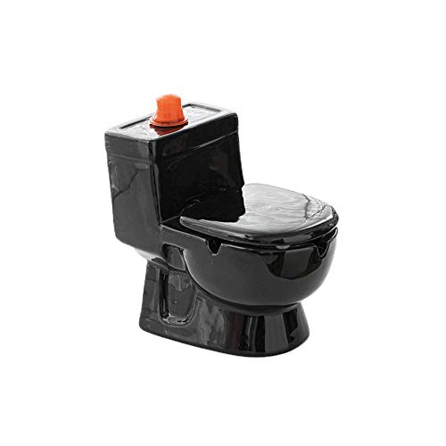 THMY Cenicero de cerámica, Resistente al Viento con Tapa, Caja de Almacenamiento de rociado de Agua de Inodoro de Gran Capacidad, Maceta para Plantas suculentas (Negro)