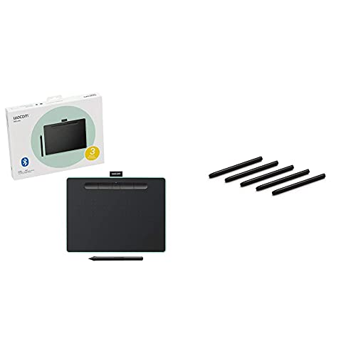 Wacom Intuos Wireless Graphics Drawing Tablet - Black With Pistachio Accent (Ctl6100Wle0) & Ack20001 Standard Nibs,Black & Pistachio,Small & Medium