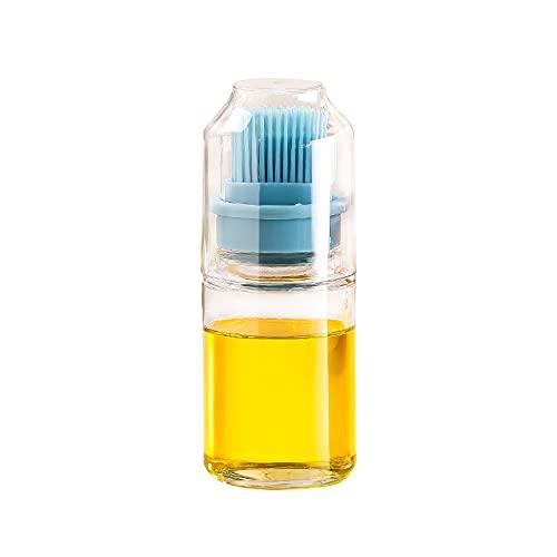 Salangae Botella dispensador de aceite de oliva de 150 ml con cepillo de silicona de plástico a prueba de polvo tapa recipiente dispensador contenedor para el hogar cocina