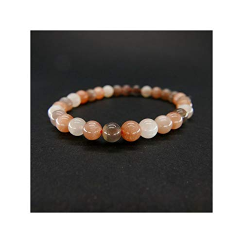 Pulsera de Piedra Luna Adularia Bola Lisa 6mm Minerales y Cristales, Belleza energética, Meditacion, Amuletos Espirituales