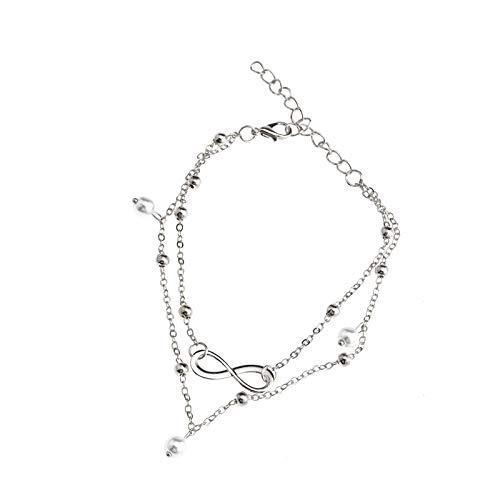 1x Fußkettchen Fußkette Silber Fußschmuck 16-21cm verstellbar Knöchel