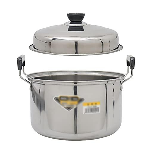 Pentole fumanti Pentola di riserva, vaso di zuppa di ferro binaurale domestico con coperchio, pentola di cottura (20-28 cm), per fornello a gas/in forma di induzione Recipiente di cottura