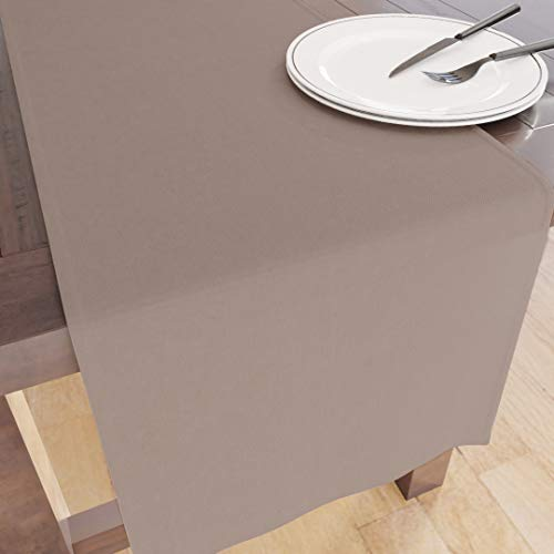 Encasa Homes Tischläufer für 6 Seater Essen - Beige - Groß 40 x 150 cm, 100% Baumwolle Unifarben einfarbig gefärbt Dekorationstuch für Party, Bankett, Restaurant - maschinenwaschbar