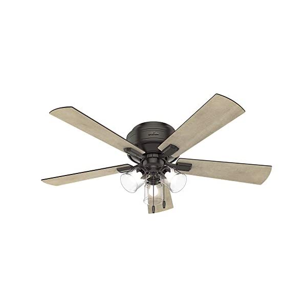 Hunter Fan Company 54208 Crestfield Indoor Low Profile Ceiling Fan with LED Light and Pull Chain Control, 52″, Noble Bronze