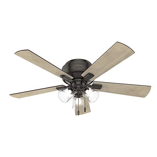 Hunter Crestfield Indoor Low Profile Ceiling Fan with LED...