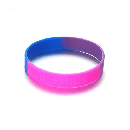 Nobrand 1 Unid Gay Rainbow Pulseras De Silicona Brazaletes Orgullo Carta Joyería Hecha A Mano para Gay Lesbian Fashion Strectable LGBT Bracelet 20cm
