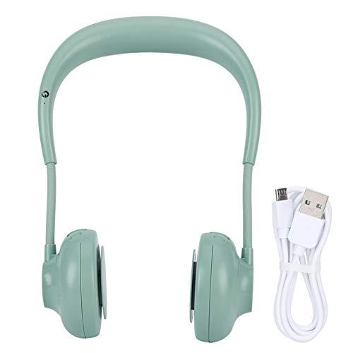 Ventilador Personal para el Cuello, Mini Ventilador portátil con Banda para el Cuello portátil Recargable con 3 velocidades Cabezal Ajustable de 360 ° (Verde)