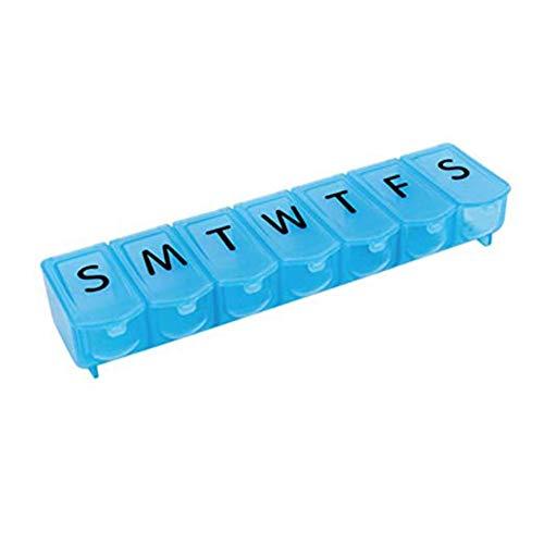 Pillenbox 7 Tage,LUCKDE Pillendose Kleine Tabletten Wochenbox Tablettenbox Medikamentenbox Nicht Teilbar Pillen Tabletten Box Schachtel Tablettendose (Blau)