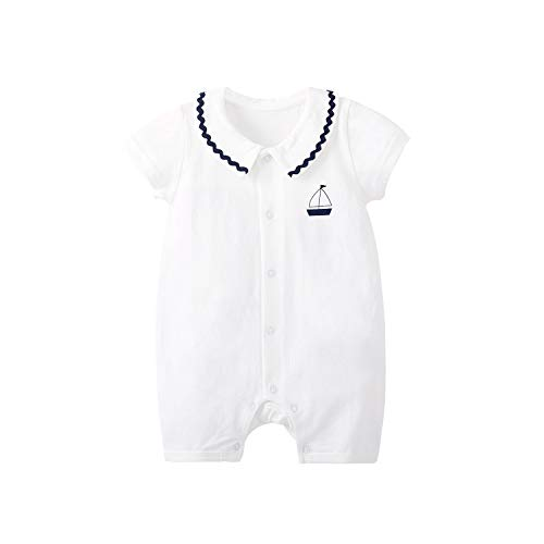 pureborn Baby Boy Cotton Sailboat Summer Collared Romper Outfit White...